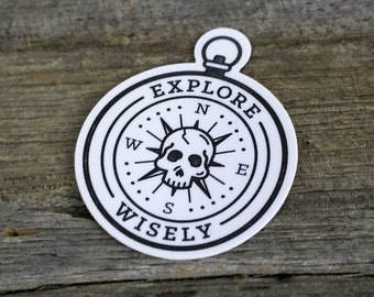 Sticker - Explore Wisely - Skull Compass