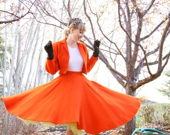 Vintage 1950s Designer Wool Suit / Circle Skirt / Jacket / 50s Dress / Orange / Size S