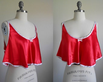80s vintage lingerie - red white cropped camisole crop top - 80s Le Flirt top
