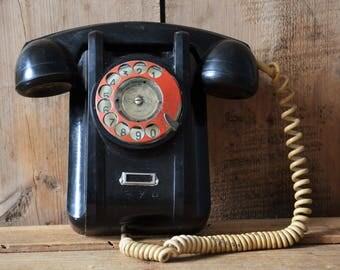 Vintage phone, Wall phone, Rotary phone, Dial rotary phone, Retro phone, Dial wall phone, Black phone, Black rotary phone, Industrial office