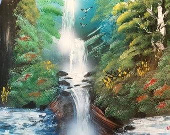 Jungle Spray Paint Art Waterfall Speed Painting