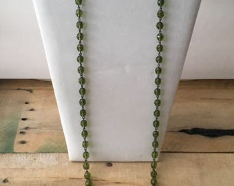Pretty Olive Green Crystal Beaded Long Necklace - I Olive You Necklace