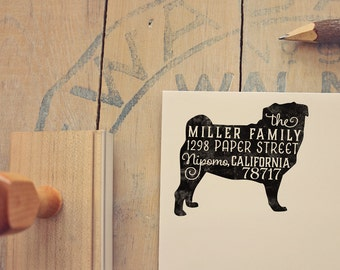 Pug Address Stamp - Dog Return Address Stamp - Dog Lover Gift - Rubber Stamp - Personalized Pet Address Stamp