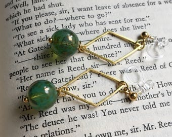 Green and Gold Invisible Clip On Earrings / Bridal Clip Earring / Drop Clipon / Geometric
