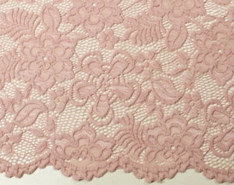 Mauve Pale 58'' Caroline Floral Scalloped Nylon Stretch Lace Fabric by the Yard- Style 686