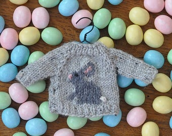 Grey Bunny Hand-Knit Sweater Ornament   *Available to Order*