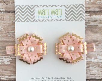Light Pink and Gold Chevron Hair Bow Set - Gold Pink Chevron Hair Clips - Chevron Hair Accessory - Pastel Pink Hair Clip - Gold Hair Clips