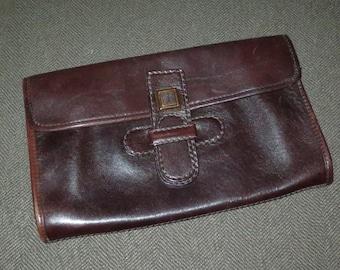 Vintage Women's Clutch Bag Purse , La Diva Italy , Dark Brown Genuine Letather