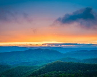 Sunset over the Blue Ridge Mountains, Shenandoah National Park, Virginia.   Photo Print, Stretched Canvas, or Metal Print.