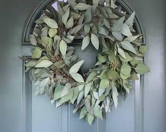 "Silver Dollar Eucalyptus Wreath- 20"""