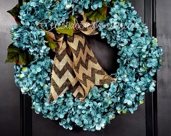 Hydrangea wreath- Spring Wreath - Summer Wreath - GreenWreath - wreath - mothers day - housewarmin