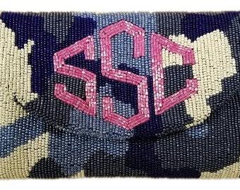 Custom Monogram Beaded Camo Handbag Clutch Purse Envelope Bag