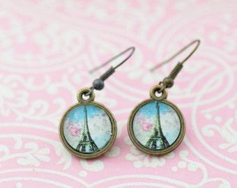Eiffel Tower Paris Romantic Small Glass Pendant Bronze Earrings