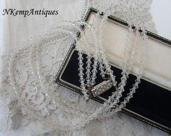 1950's glass necklace rhinestone clasp