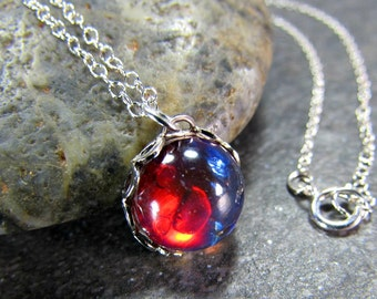 Dragons Breath Opal Necklace with Sterling Silver or 14K Gold Filled Chain- Gothic Jewelry- Valentines Day Gift
