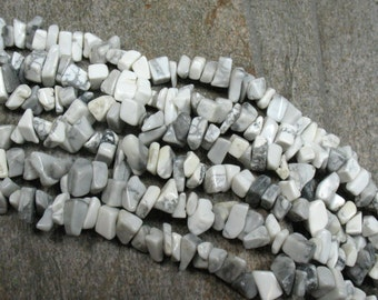 "Howlite Chip Bead Necklace - 36""- Item B0856"