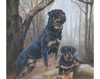 ROTTWEILER limited edition dog print 'Boys in the Wood'