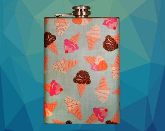 Classic Cones // Ice Cream flask // Hip Flask // Birthday gift // Stainless Steel // 6 oz. Flask // 8 oz. Flask