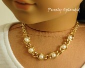 Elegant Princess Pearl Necklace for 18 inch Girl Dolls, American made glamour holiday accessory, dressy outfit, elegant night out jewelry