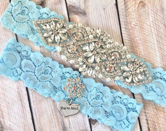 Blue Wedding Garter, Wedding Garter Blue, Something Blue Garter, Something Blue Wedding Garter, Blue Bridal Garter, Blue Garter Set