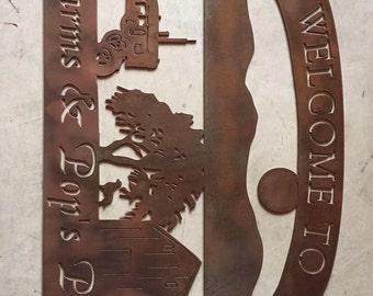 Custom metal farm sign in auburn acid finish