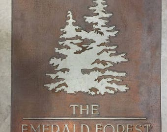 EMERALD FOREST metal sign in copper
