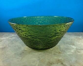 Vintage Anchor Hocking Green Glass Soreno Large Serving Bowl