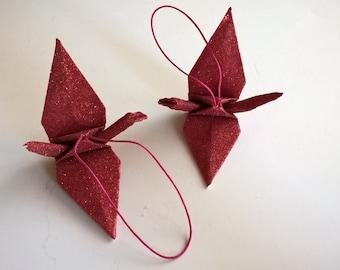 8 Crane Ornaments - glitter red , Origami Crane Ornaments , Crane hanging Ornaments