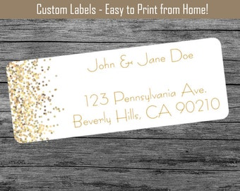 Gold Confetti - Custom Return Address Labels Print From Home