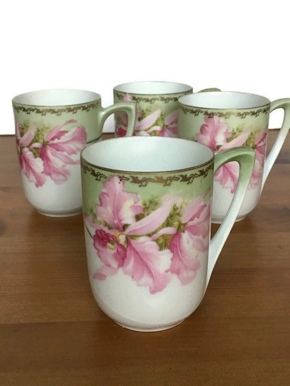 RS Germany flat cups vintage set of hand painted collectible porcelain