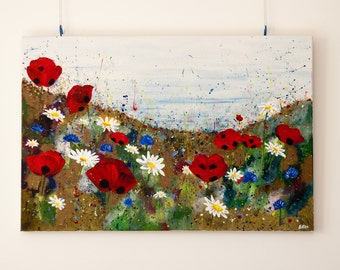 Poppy Meadow, original Large painting on canvas 90x60x4cm