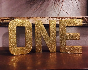 8 gold one stand up letters one first birthday decorations wedding anniversary ships in 3 5 business days photo prop