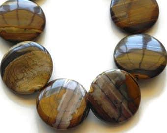 tiger eye 35mm circle beads  002-80