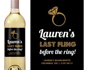 Bachelorette Party Label - Bachelorette Weekend - Bachelorette Wine Label - Custom Label - Party Favor - Last Fling