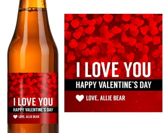 Valentineu0027s Day Beer Label   Personalized Valentine Labels  Valentineu0027s Day  Labels   Valentines Day Gift