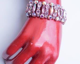 1960's Weiss Bracelet Pink Rhinestones Grace Kelly Debutante