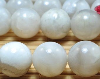 31 pcs of White Crazy Lace Agate smooth round beads in 12mm