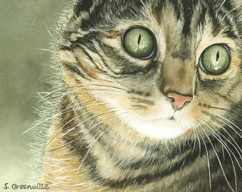 Tabby cat watercolor print 5 by 7 5x7 inches