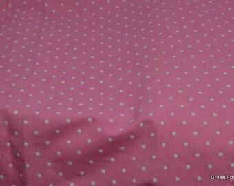 Pink and White Swiss Dot Chambray Fabric