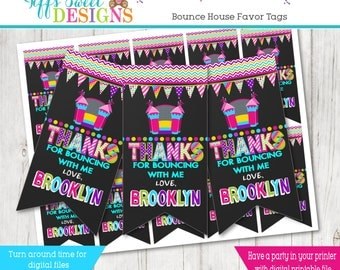 Bounce House Party Favor Tag - Thanks You Favor Tag - Jump Party