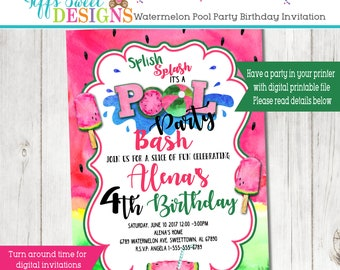 Watermelon Pool Party Invitation - Summer Party - Pool Party Invite -