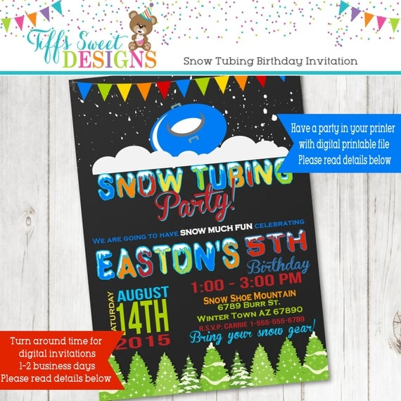 Snow tubing birthday party Invitation Sledding Party Snow