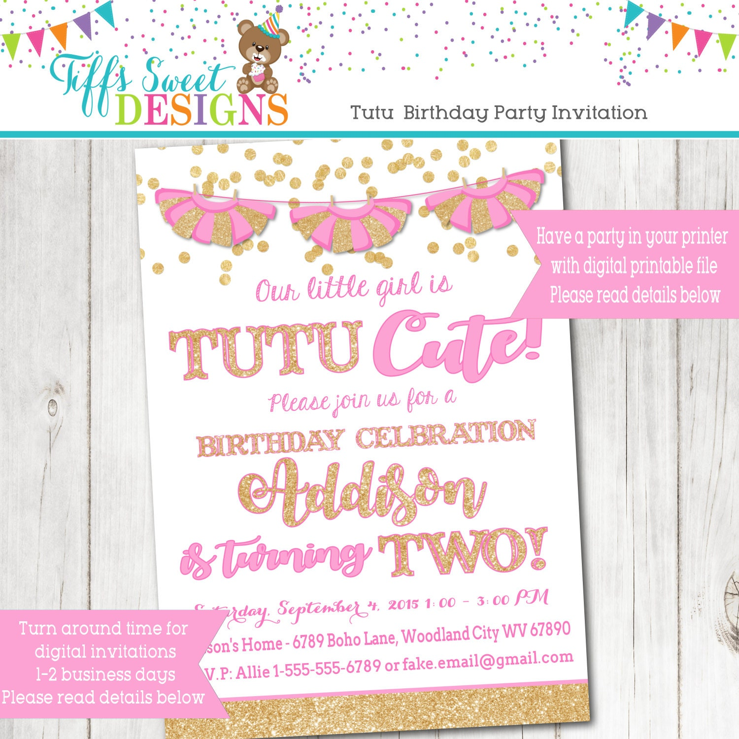 Pink and Gold Glitter Tutu Birthday Party Invitation Girls