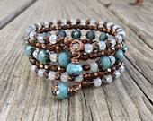 Czech Glass and Opalite Multi Strand Copper Memory Wire Bracelet