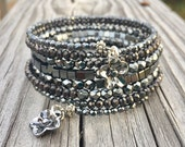 Heavenly Hematite Multi Coil Memory Wire Wrap Bracelet With Flower Charms