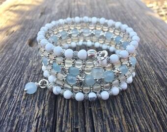 Simply Pretty Multi Gemstone Coil Memory Wire Wrap Bracelet