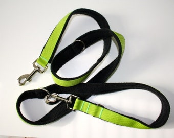 Dog leash Adjustable padded with fleece lime black