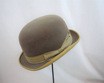 Vintage 1950s taupe brown bowler by Miller, steampunk hat