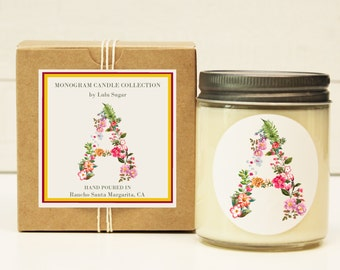 Monogram Candle | Gift For Her | Sister Gift | Holiday Gift Idea | Mothers Day Gift | Birthday Gift for Her | Monogram Gift | Send a Gift
