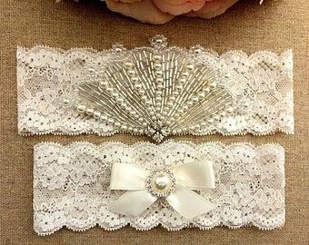 Wedding Lace Garter Set - Bridal Garter - Pearl Garter - Rhinestone Garter - Toss Garter - Wedding Garter Belt - Keepsake Garter